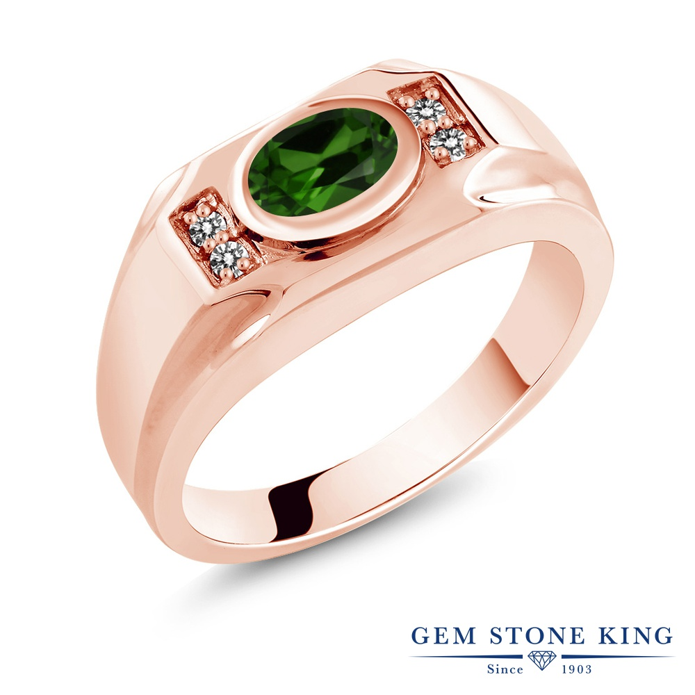 Gem Stone King 1.33カラット 天然 クロムダイオプサイド 天然 ダイヤモンド シルバー925 ピンクゴールドコーティング 指輪 リング レディース 大粒 マルチストーン 天然石 金属アレルギー対応 誕生日プレゼント