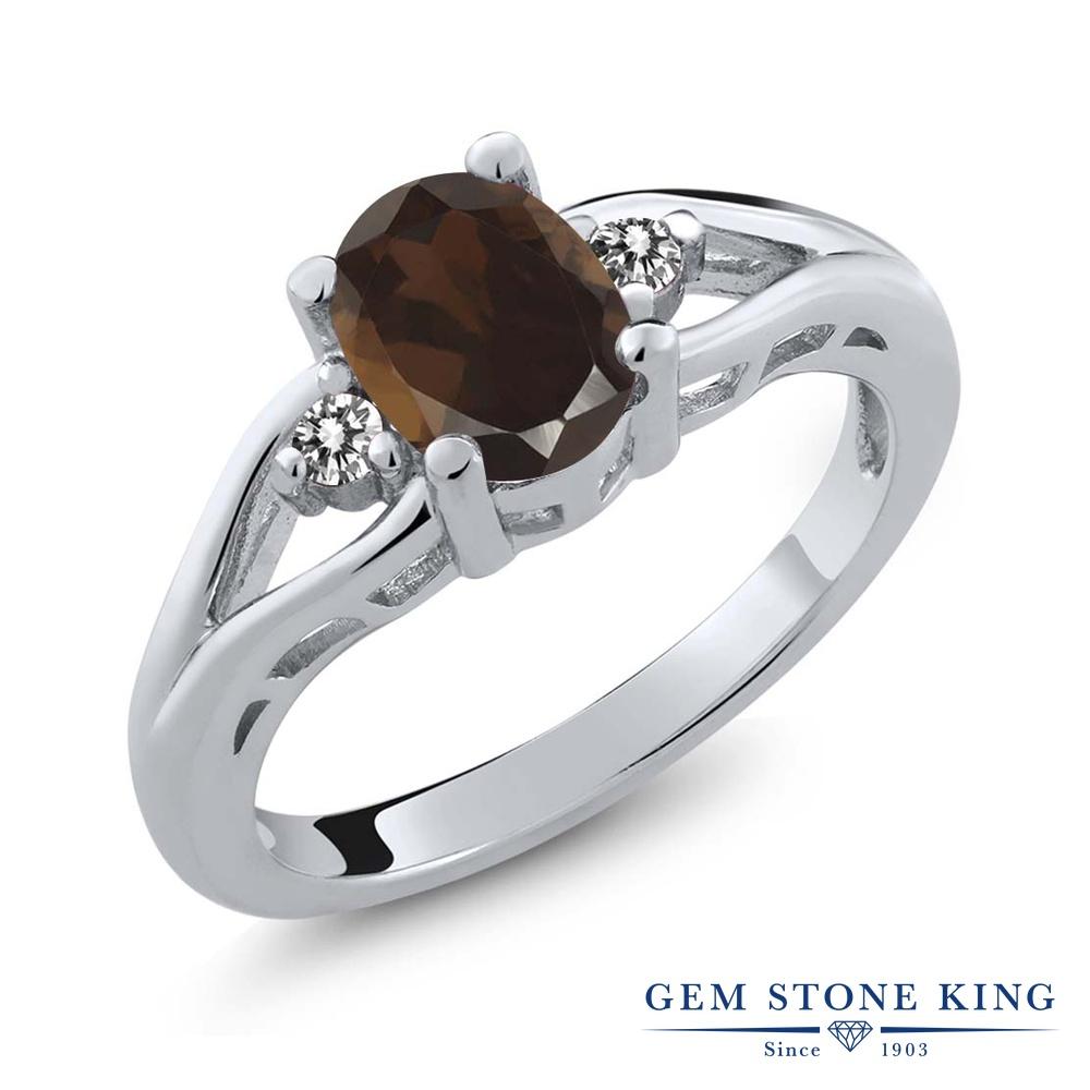 【10%OFF】 Gem Stone King 1.27カラット 天然 スモーキークォーツ (ブラウン) ダイヤモンド 指輪 リング レディース シルバー925 大粒 シンプル スリーストーン 天然石 クリスマスプレゼント 女性 彼女 妻 誕生日