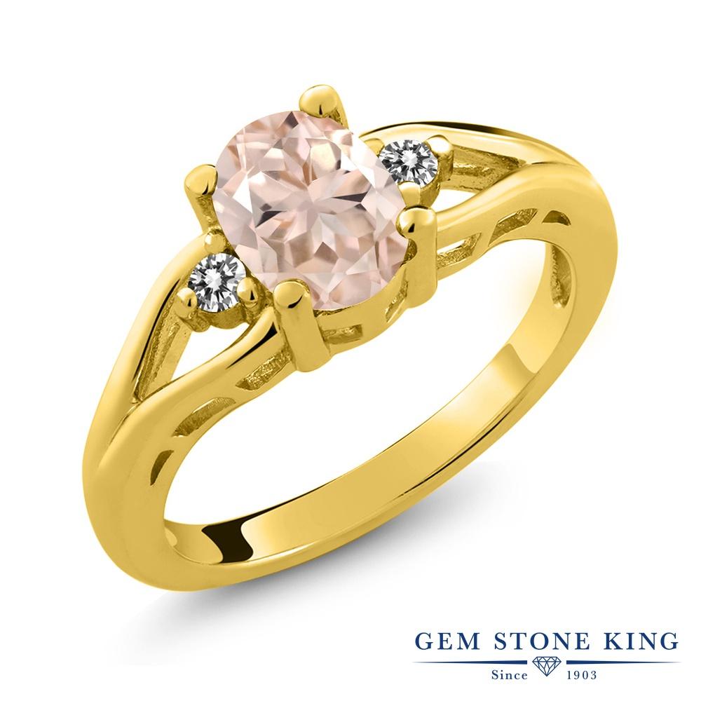 Gem Stone King 1.07カラット 天然 モルガナイト (ピーチ) 天然 ダイヤモンド シルバー925 イエローゴールドコーティング 指輪 リング レディース 大粒 シンプル スリーストーン 天然石 3月 誕生石 金属アレルギー対応 誕生日プレゼント