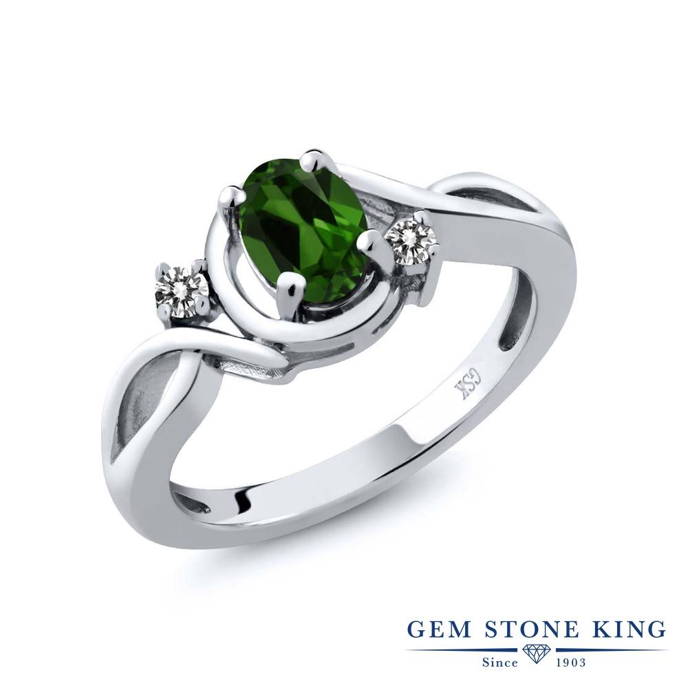 Gem Stone King 0.87カラット 天然 クロムダイオプサイド 天然 ダイヤモンド シルバー925 指輪 リング レディース シンプル ソリティア 天然石 金属アレルギー対応 誕生日プレゼント