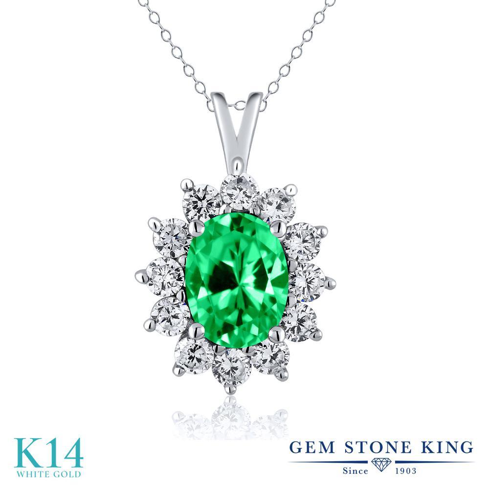 Gem Stone King 1.81カラット ジルコニア (グリーン) 14金 ホワイトゴールド(K14) ネックレス ペンダント レディース CZ 大粒 金属アレルギー対応 誕生日プレゼント