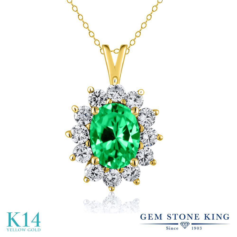 Gem Stone King 1.81カラット ジルコニア (グリーン) 14金 イエローゴールド(K14) ネックレス ペンダント レディース CZ 大粒 金属アレルギー対応 誕生日プレゼント