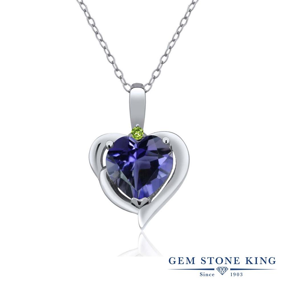 Gem Stone King 1.27カラット 天然アイオライト(ブルー) シミュレイテッドペリドット シルバー925 ネックレス ペンダント レディース 大粒 シンプル 天然石 誕生日プレゼント