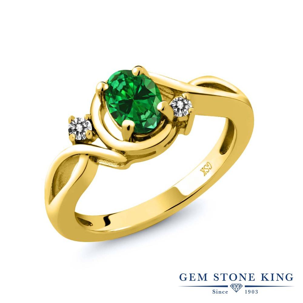 0.67カラット ナノエメラルド 指輪 レディース リング 天然 ダイヤモンド イエローゴールド 加工 シルバー925 ブランド おしゃれ ツイスト ねじれ 緑 シンプル ソリティア プレゼント 女性 彼女 妻 誕生日