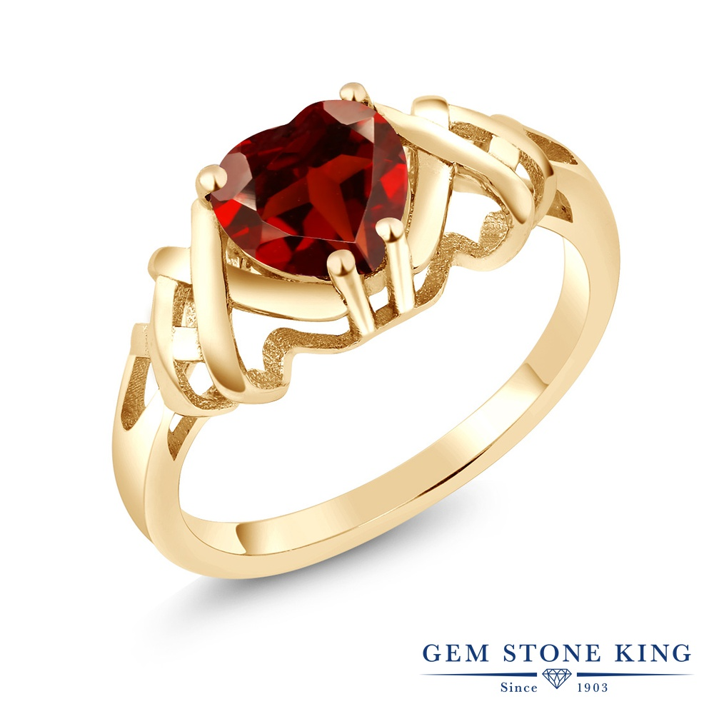 Gem Stone King 1.3カラット 天然 ガーネット 指輪 リング レディース シルバー925 イエローゴールド 加工 大粒 一粒 シンプル ソリティア 天然石 1月 誕生石 金属アレルギー対応