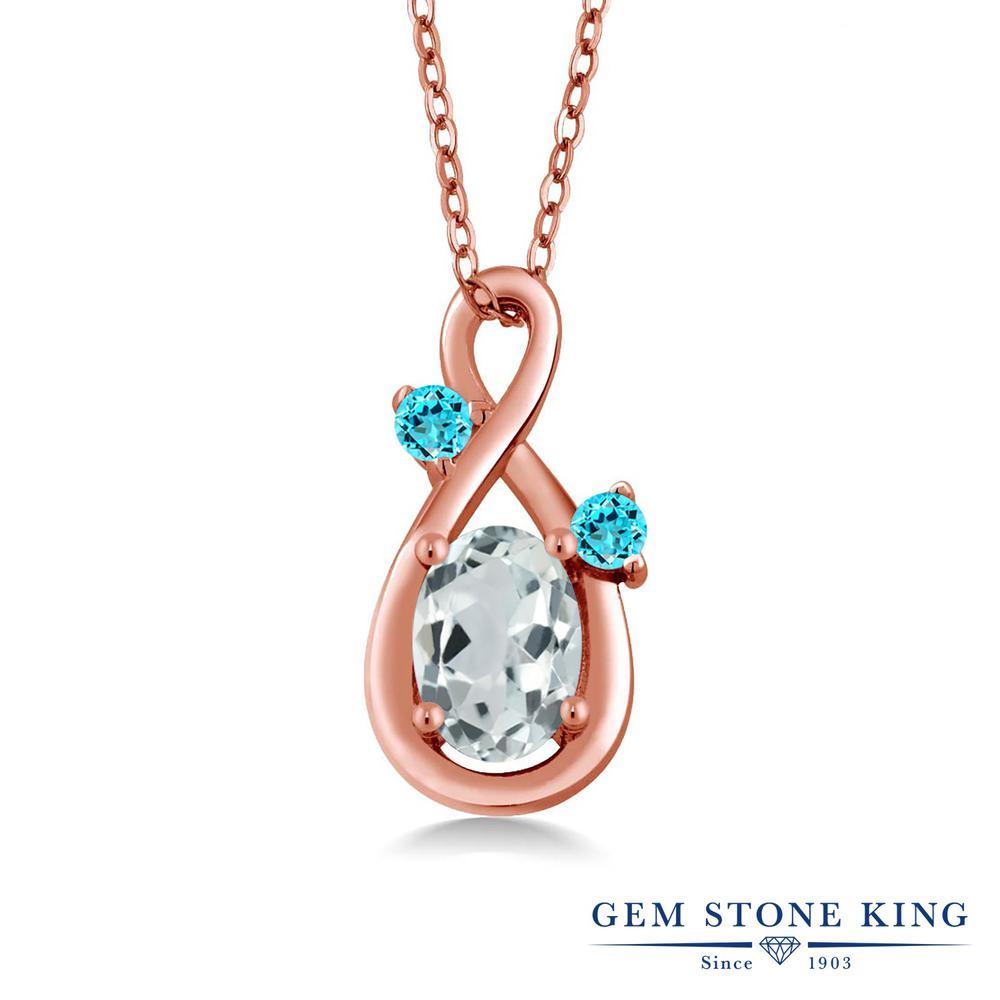 Gem Stone King 0.85カラット 天然アクアマリン シミュレイテッドトパーズ(スカイブルー) シルバー 925 ローズゴールドコーティング ネックレス ペンダント レディース シンプル 天然石 誕生石 誕生日プレゼント