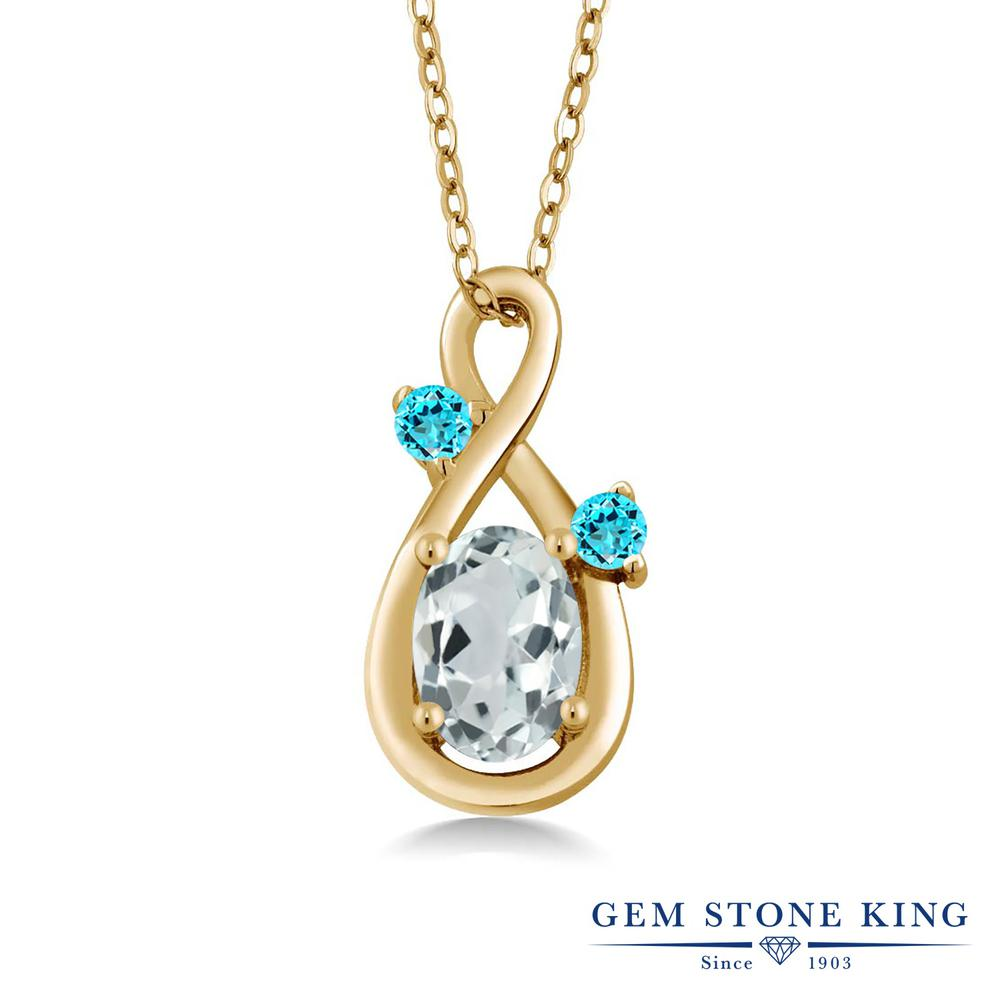 Gem Stone King 0.85カラット 天然アクアマリン シミュレイテッドトパーズ(スカイブルー) シルバー 925 イエローゴールドコーティング ネックレス ペンダント レディース シンプル 天然石 誕生石 誕生日プレゼント