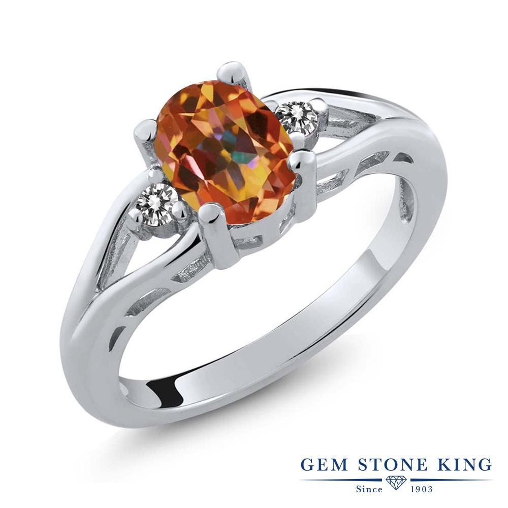 1.37カラット 天然石 エクスタシーミスティックトパーズ 指輪 レディース リング 天然 ダイヤモンド シルバー925 ブランド おしゃれ 大粒 シンプル スリーストーン 金属アレルギー対応