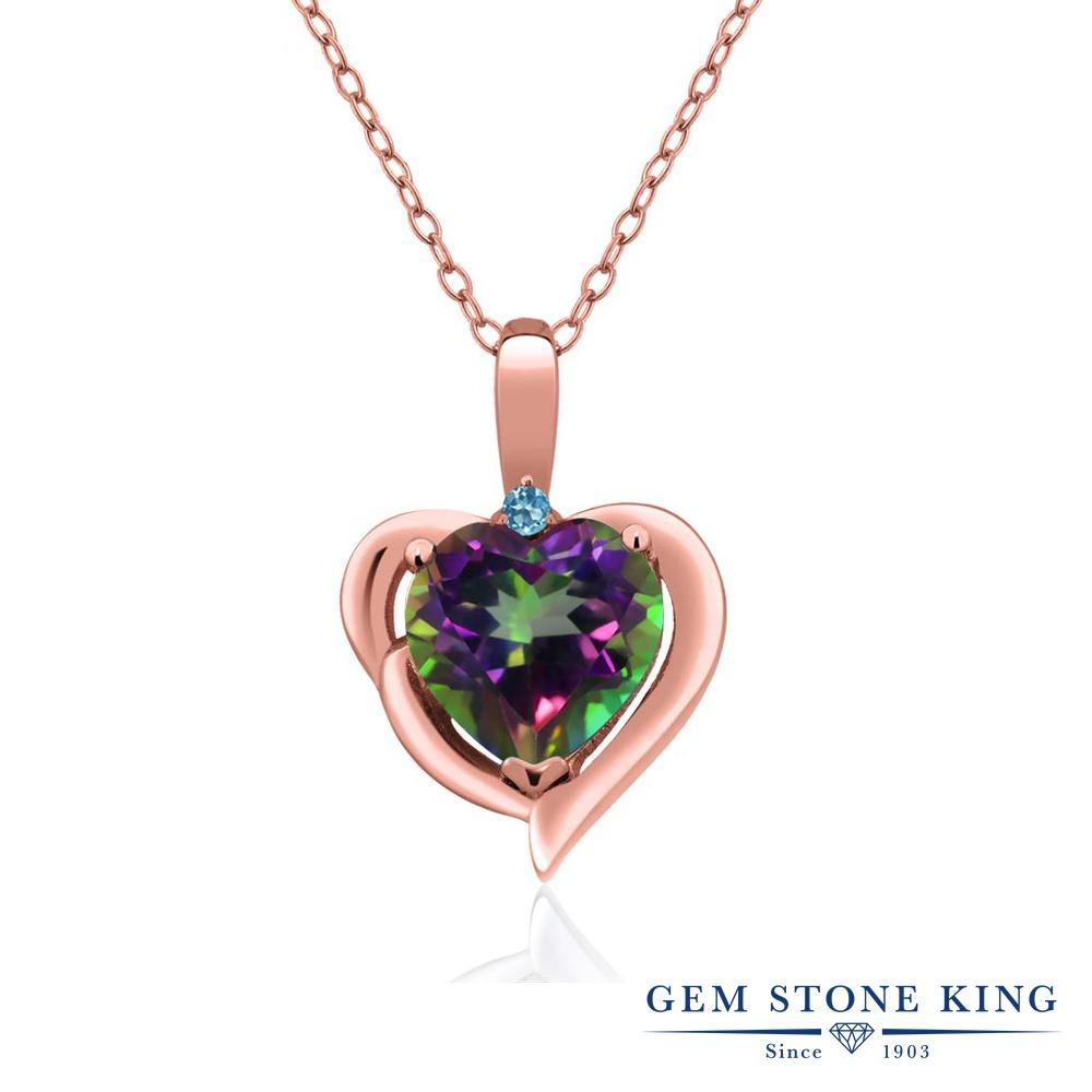 Gem Stone King 2.02カラット 天然石 ミスティックトパーズ(グリーン) シミュレイテッドトパーズ(スカイブルー) シルバー 925 ローズゴールドコーティング ネックレス ペンダント レディース 大粒 シンプル 天然石 誕生日プレゼント