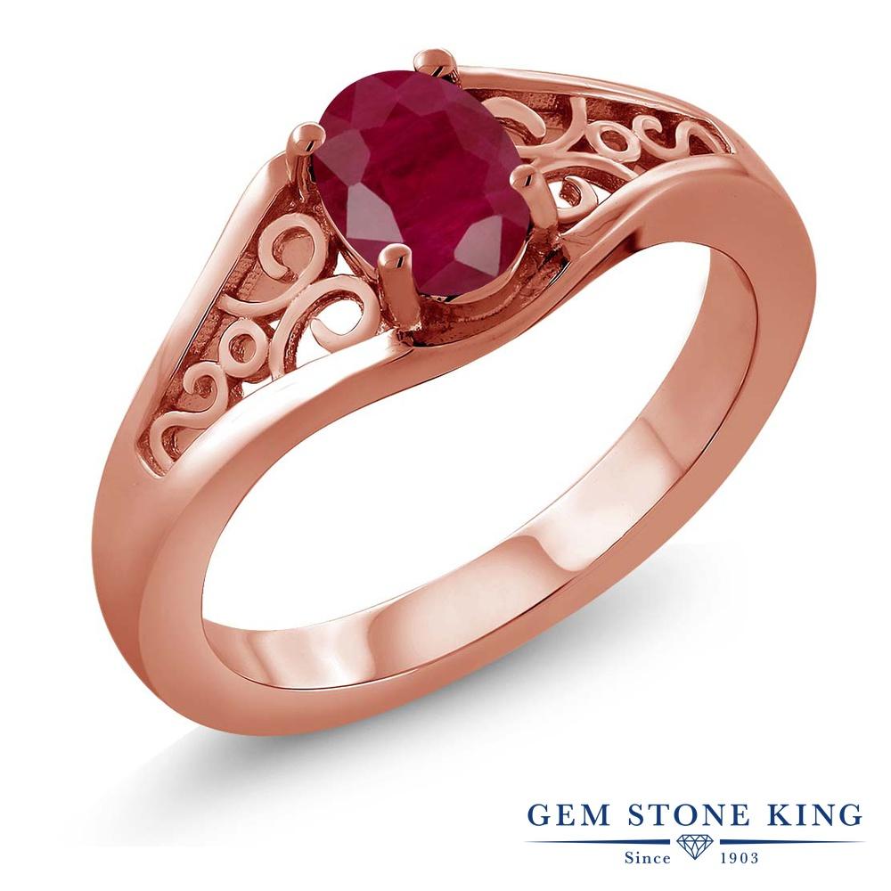 Gem Stone King 1.02カラット 天然 ルビー シルバー925 ピンクゴールドコーティング 指輪 リング レディース 大粒 一粒 シンプル ソリティア 天然石 7月 誕生石 金属アレルギー対応 誕生日プレゼント