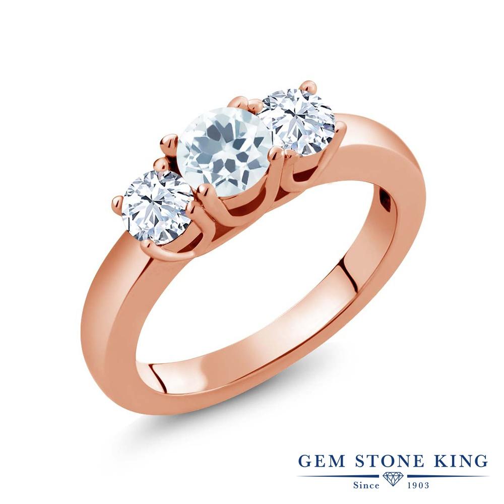 Gem Stone King 1.16カラット 天然アクアマリン 天然トパーズ(無色透明) シルバー 925 ローズゴールドコーティング 指輪 リング レディース 小粒 シンプル スリーストーン 天然石 誕生石 金属アレルギー対応 誕生日プレゼント