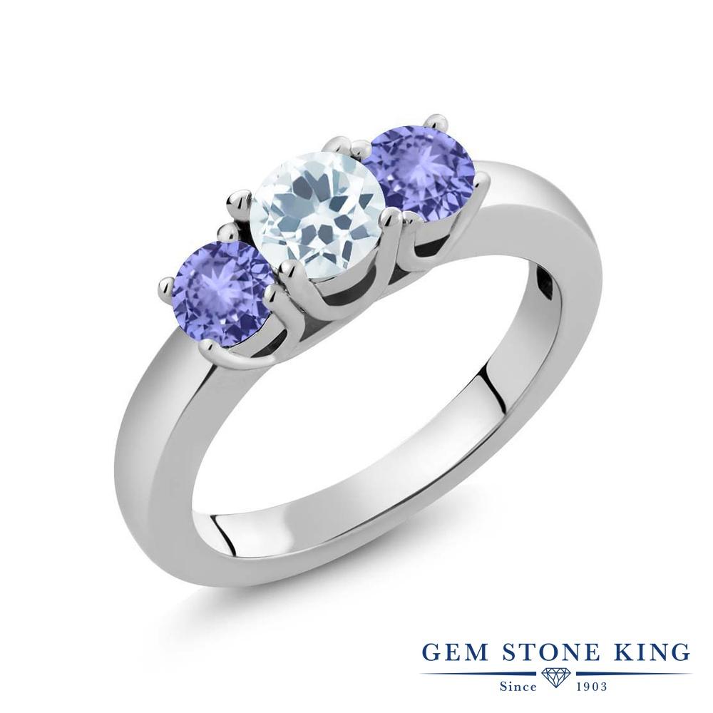 Gem Stone King 1カラット 天然 アクアマリン 天然石 タンザナイト 指輪 リング レディース シルバー925 小粒 シンプル スリーストーン 3月 誕生石 金属アレルギー対応