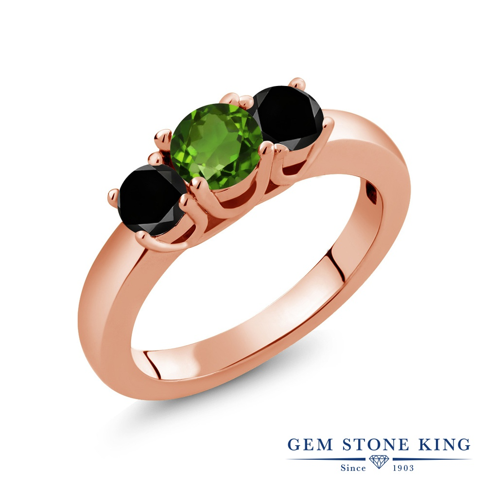 Gem Stone King 1.04カラット 天然 クロムダイオプサイド 天然ブラックダイヤモンド シルバー925 ピンクゴールドコーティング 指輪 リング レディース 小粒 シンプル スリーストーン 天然石 金属アレルギー対応 誕生日プレゼント