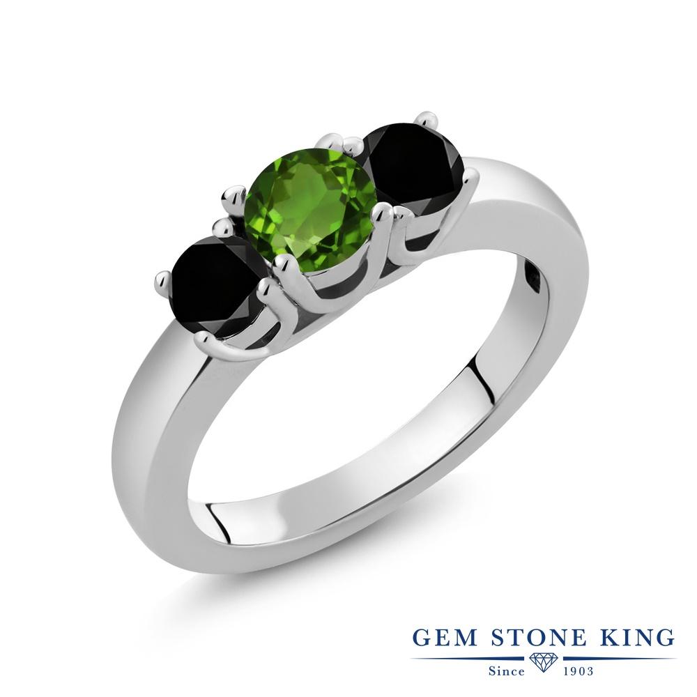【10%OFF】 Gem Stone King 1.04カラット 天然 クロムダイオプサイド ブラックダイヤモンド 指輪 リング レディース シルバー925 小粒 シンプル スリーストーン 天然石 クリスマスプレゼント 女性 彼女 妻 誕生日