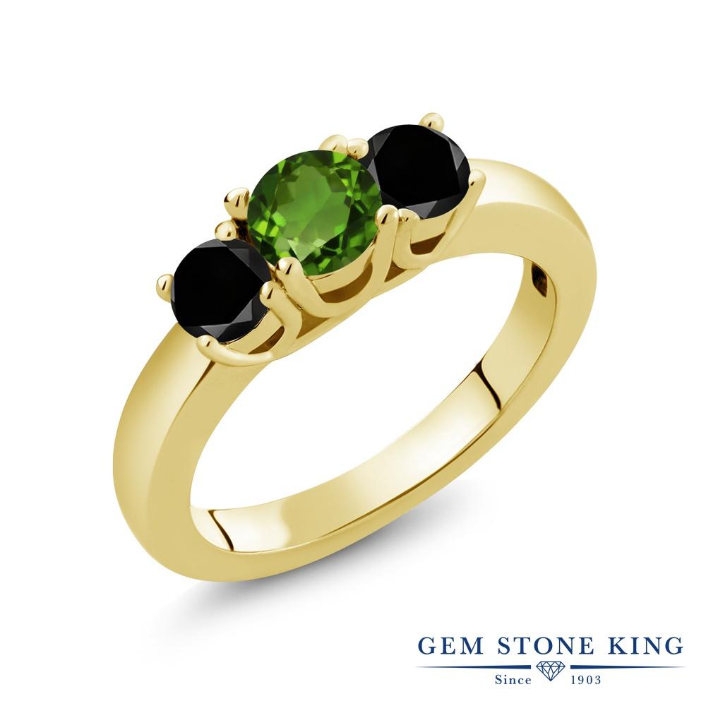 【10%OFF】 Gem Stone King 1.04カラット 天然 クロムダイオプサイド ブラックダイヤモンド 指輪 リング レディース シルバー925 イエローゴールド 加工 小粒 シンプル スリーストーン 天然石 クリスマスプレゼント 女性 彼女 妻 誕生日