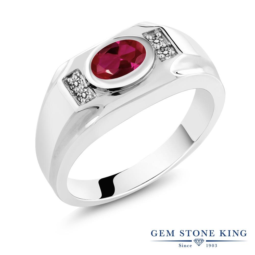 Gem Stone King 1.68カラット 合成ルビー 天然 ダイヤモンド シルバー925 指輪 リング レディース 大粒 マルチストーン 金属アレルギー対応 誕生日プレゼント
