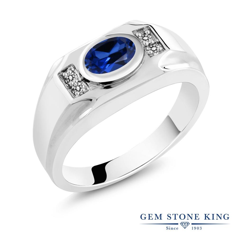【10%OFF】 Gem Stone King 1.77カラット シミュレイテッド サファイア 天然 ダイヤモンド 指輪 リング レディース シルバー925 大粒 マルチストーン クリスマスプレゼント 女性 彼女 妻 誕生日