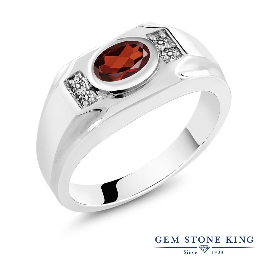 【10%OFF】 Gem Stone King 1.53カラット 天然 ガーネット ダイヤモンド 指輪 リング レディース シルバー925 大粒 マルチストーン 天然石 1月 誕生石 クリスマスプレゼント 女性 彼女 妻 誕生日