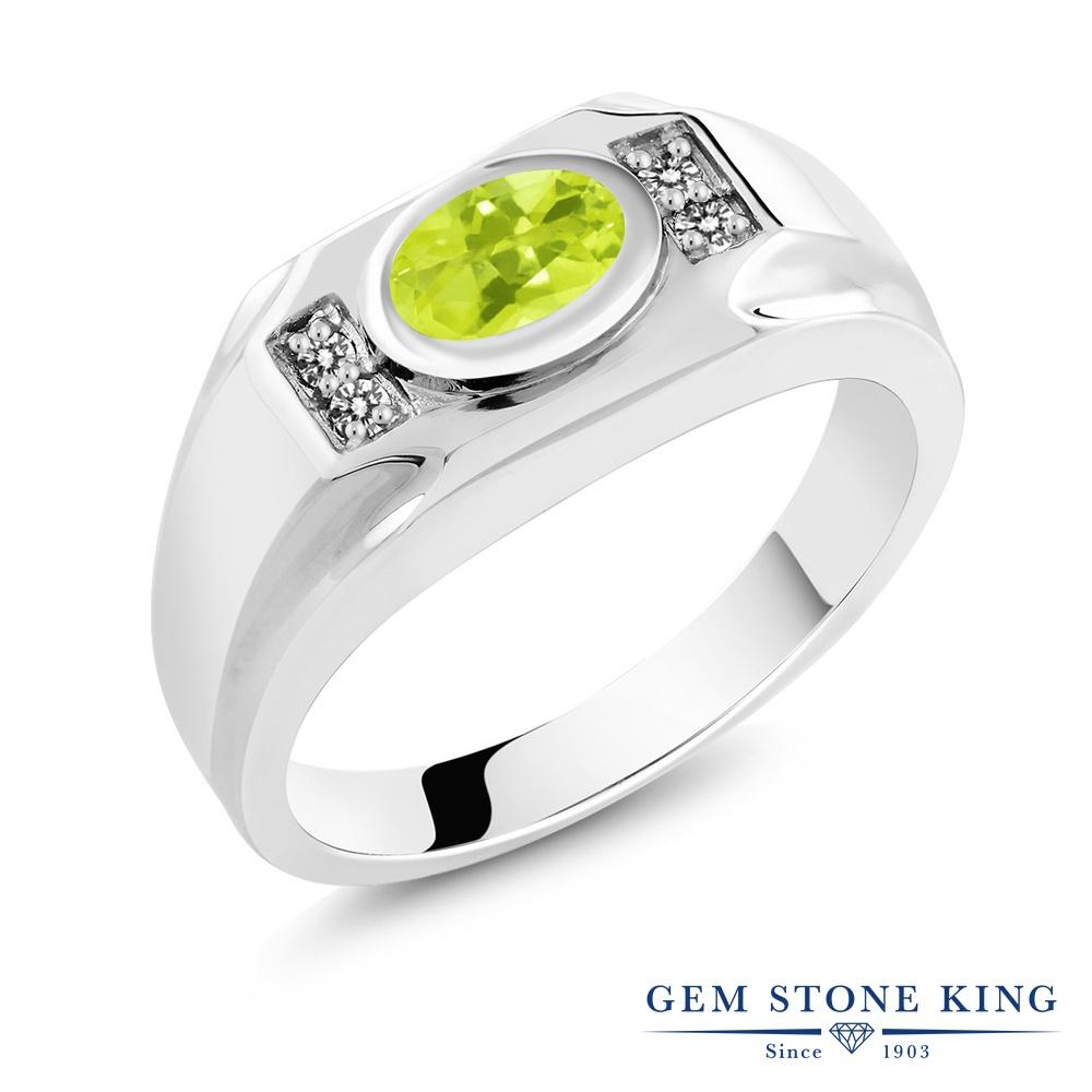【10%OFF】 Gem Stone King 1.48カラット 天然 レモンクォーツ ダイヤモンド 指輪 リング レディース シルバー925 大粒 マルチストーン 天然石 クリスマスプレゼント 女性 彼女 妻 誕生日
