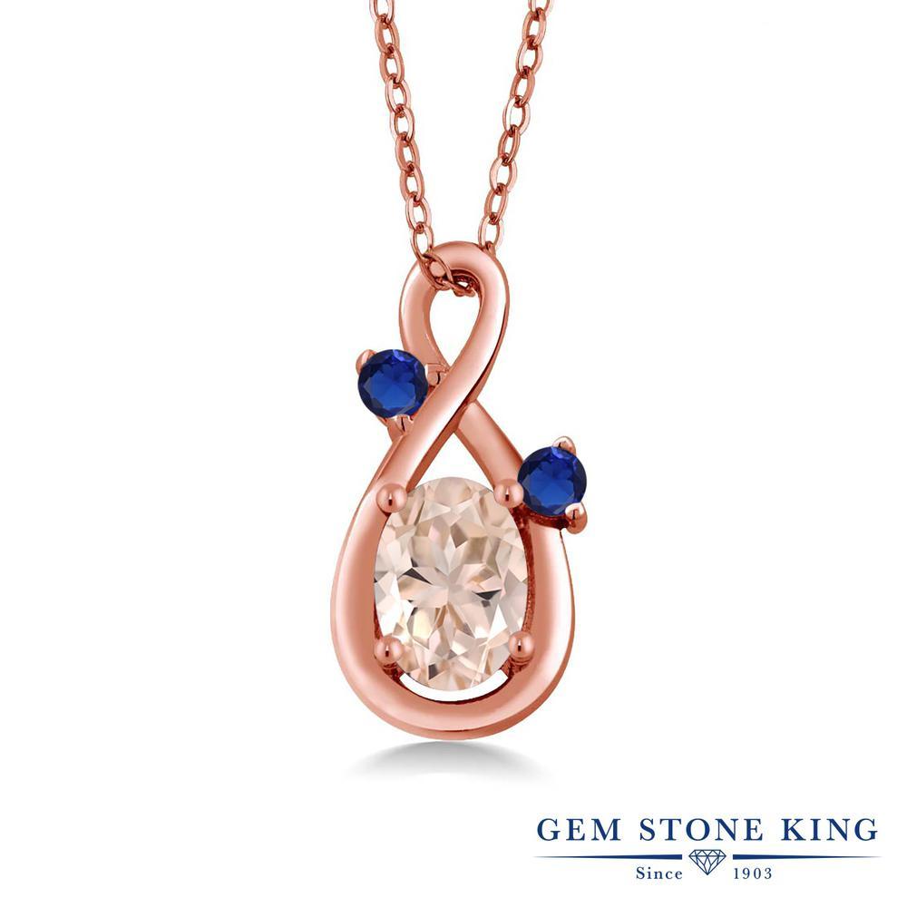 Gem Stone King 0.74カラット 天然モルガナイト(ピーチ) シルバー 925 ローズゴールドコーティング ネックレス ペンダント レディース シンプル 天然石 誕生石 誕生日プレゼント