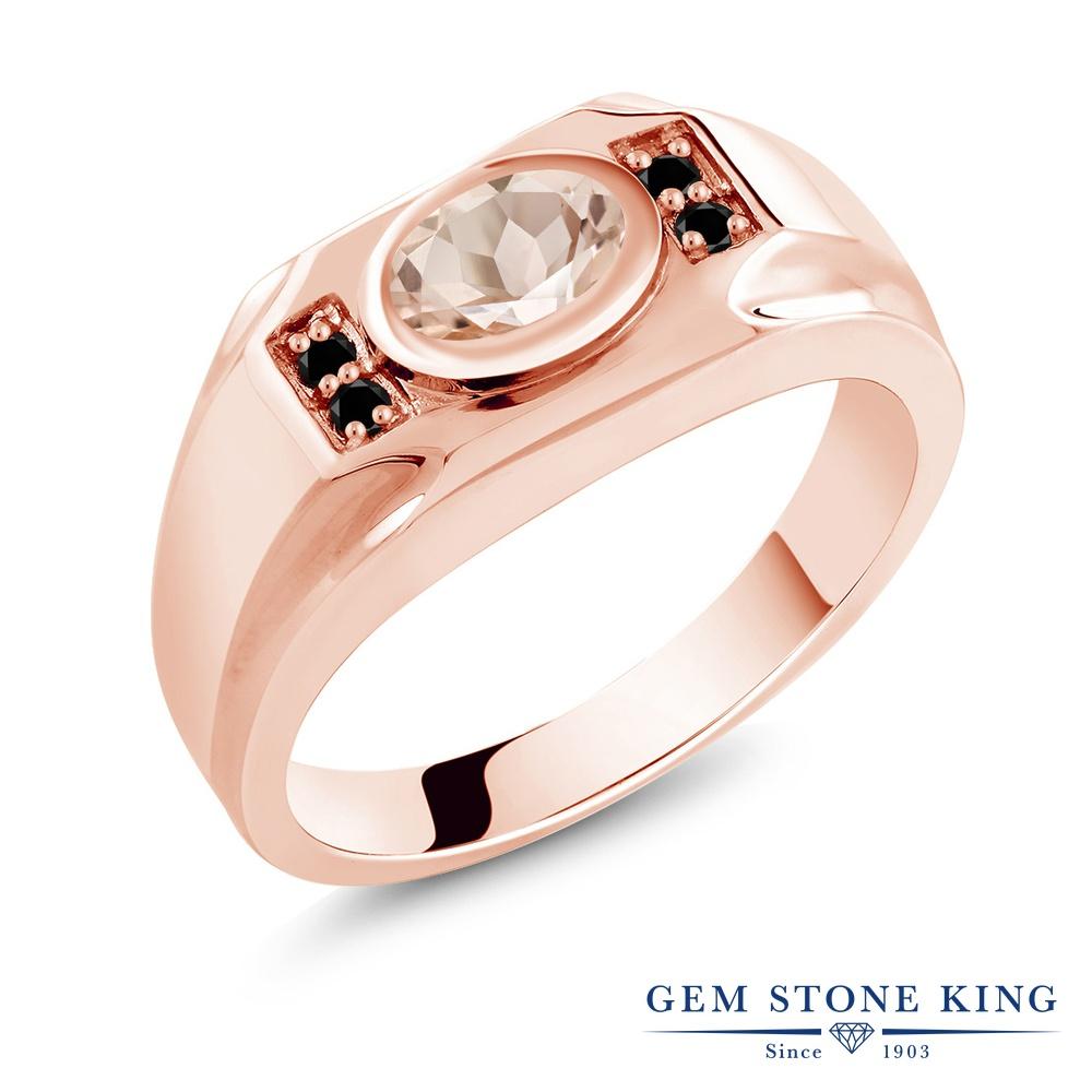 Gem Stone King 1.13カラット 天然 モルガナイト (ピーチ) 天然ブラックダイヤモンド シルバー925 ピンクゴールドコーティング 指輪 リング レディース 大粒 マルチストーン 天然石 3月 誕生石 金属アレルギー対応 誕生日プレゼント
