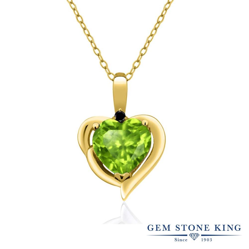 Gem Stone King 1.52カラット 天然石ペリドット シルバー 925 イエローゴールドコーティング 天然ブラックダイヤモンド ネックレス ペンダント レディース 大粒 シンプル 天然石 誕生石 誕生日プレゼント