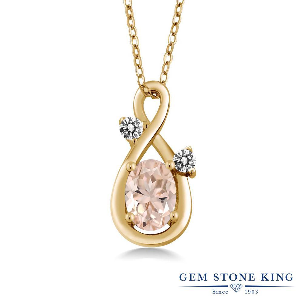 Gem Stone King 0.72カラット 天然 モルガナイト (ピーチ) 天然 ダイヤモンド シルバー925 イエローゴールドコーティング ネックレス ペンダント レディース シンプル 天然石 3月 誕生石 金属アレルギー対応 誕生日プレゼント