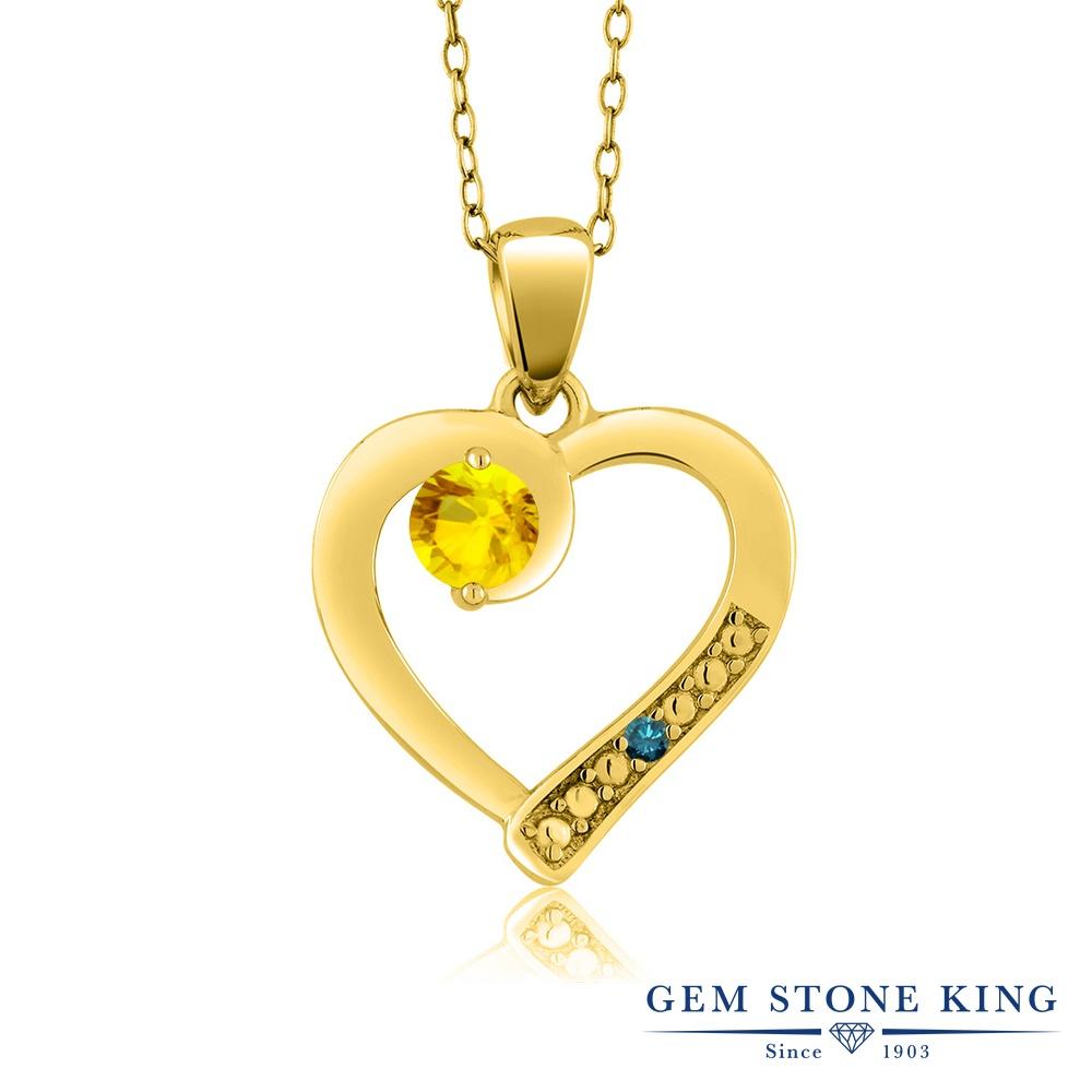 Gem Stone King 0.38カラット 天然サファイア(イエロー) シルバー 925 イエローゴールドコーティング 天然ブルーダイヤモンド ネックレス ペンダント レディース 小粒 シンプル 天然石 誕生石 誕生日プレゼント