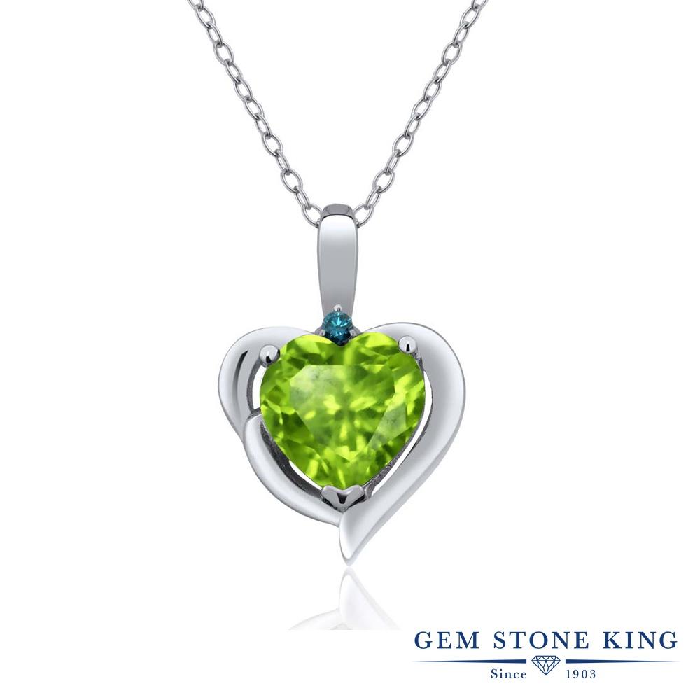 Gem Stone King 1.52カラット 天然石ペリドット シルバー925 天然ブルーダイヤモンド ネックレス ペンダント レディース 大粒 シンプル 天然石 誕生石 誕生日プレゼント