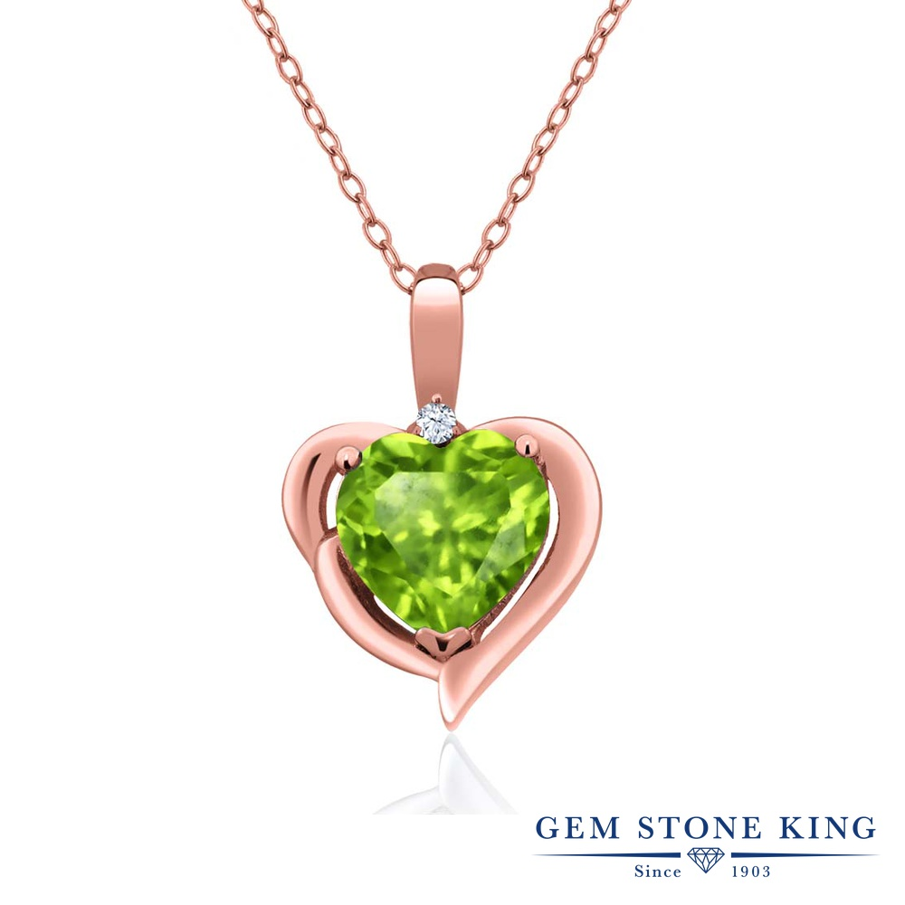 Gem Stone King 1.52カラット 天然石ペリドット 天然トパーズ(無色透明) シルバー 925 ローズゴールドコーティング ネックレス ペンダント レディース 大粒 シンプル 天然石 誕生石 誕生日プレゼント