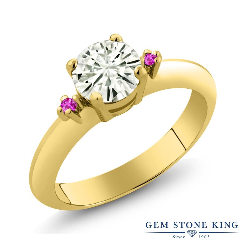 Gem Stone King 0.84カラット Forever Classic モアサナイト Charles & Colvard ピンクサファイア シルバー925 イエローゴールドコーティング 指輪 リング レディース モアッサナイト シンプル ソリティア 金属アレルギー対応 誕生日プレゼント
