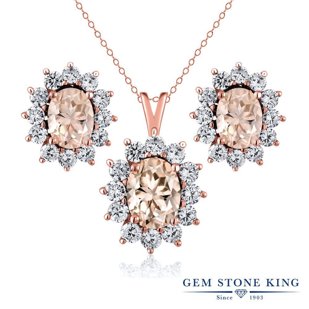 Gem Stone King 2.9カラット 天然 モルガナイト (ピーチ) シルバー925 ピンクゴールドコーティング ペンダント&ピアスセット レディース 大粒 天然石 3月 誕生石 金属アレルギー対応 誕生日プレゼント
