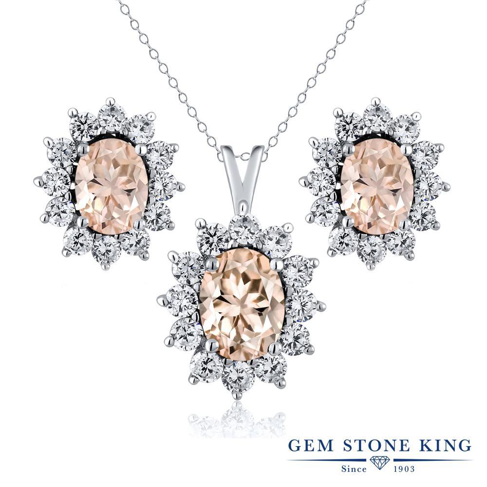 Gem Stone King 2.9カラット 天然 モルガナイト (ピーチ) シルバー925 ペンダント&ピアスセット レディース 大粒 天然石 3月 誕生石 金属アレルギー対応 誕生日プレゼント