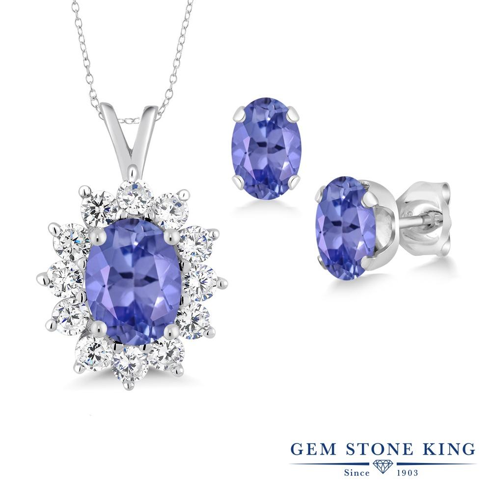 【クーポンで7%OFF】 Gem Stone King 2.3カラット 天然石 タンザナイト シルバー925 ペンダント&ピアスセット レディース 大粒 12月 誕生石 プレゼント 女性 彼女 誕生日 クリスマス