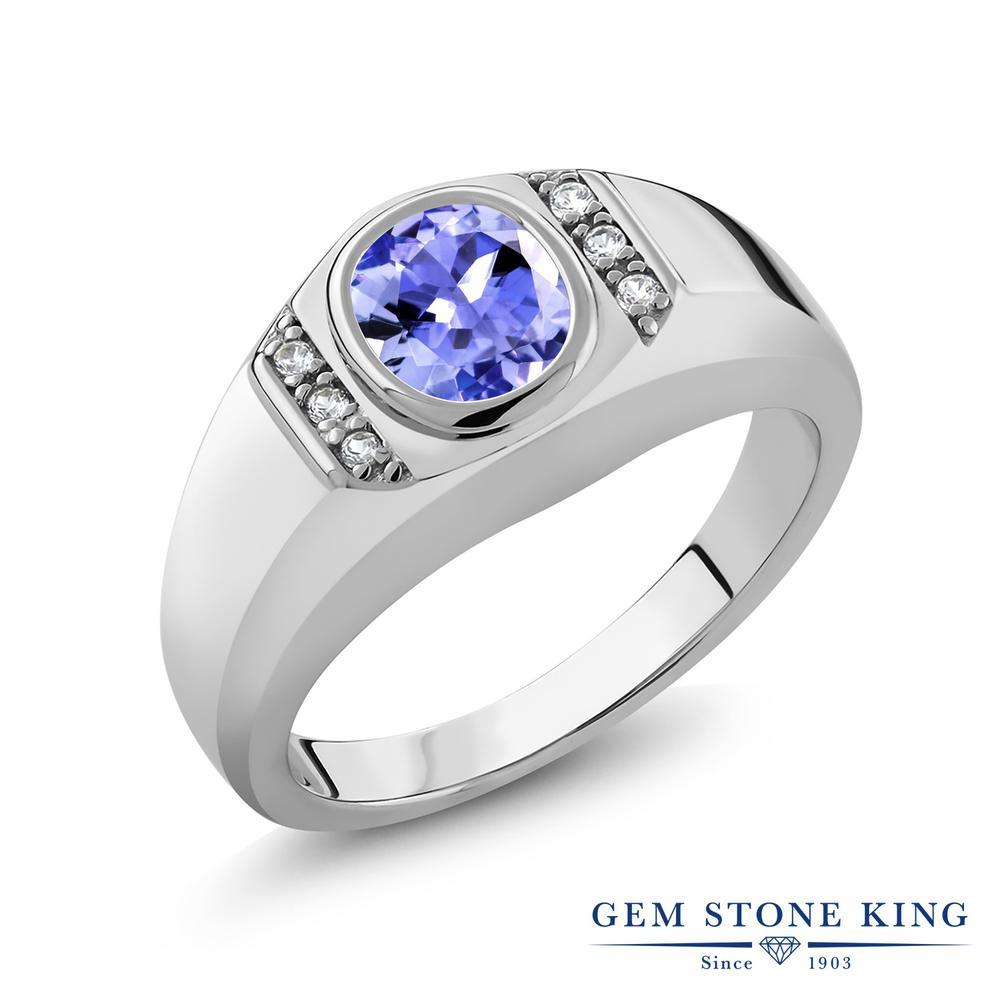 【10%OFF】 Gem Stone King 1.22カラット 天然石 タンザナイト 指輪 リング レディース シルバー925 大粒 ソリティア 12月 誕生石 クリスマスプレゼント 女性 彼女 妻 誕生日