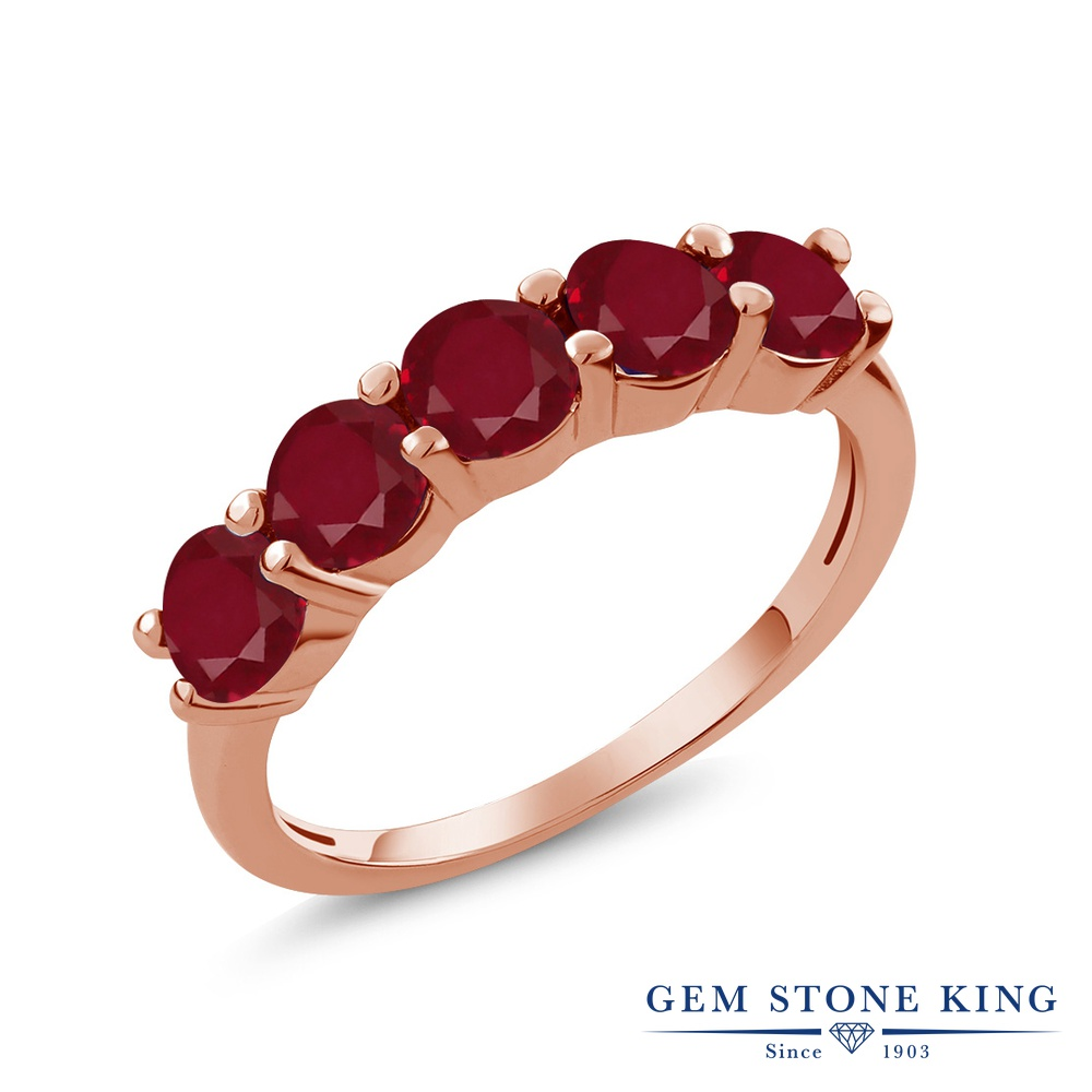Gem Stone King 1.5カラット 天然 ルビー シルバー925 ピンクゴールドコーティング 指輪 リング レディース 小粒 ハーフエタニティ 天然石 7月 誕生石 金属アレルギー対応 誕生日プレゼント