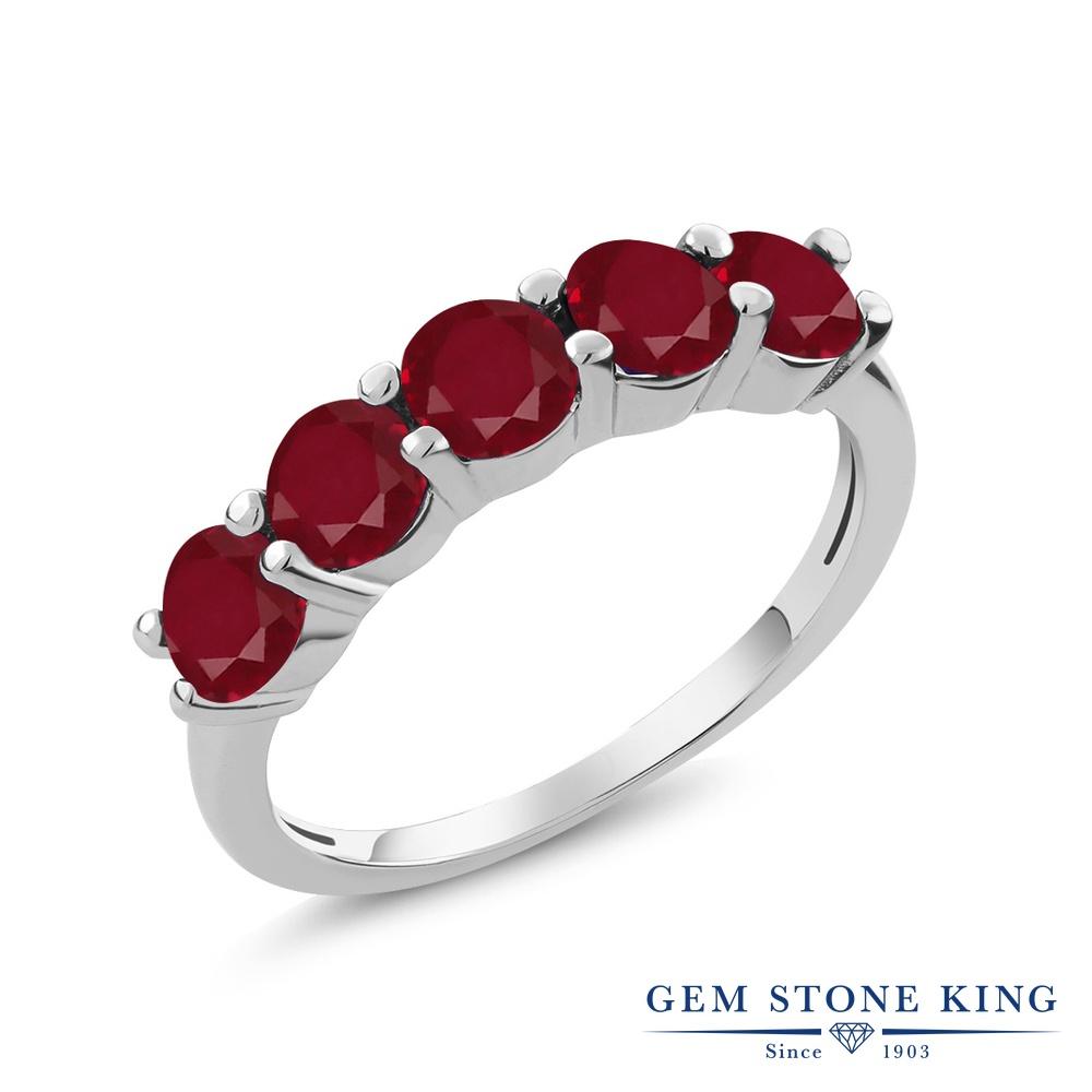 Gem Stone King 1.5カラット 天然 ルビー シルバー925 指輪 リング レディース 小粒 ハーフエタニティ 天然石 7月 誕生石 金属アレルギー対応 誕生日プレゼント