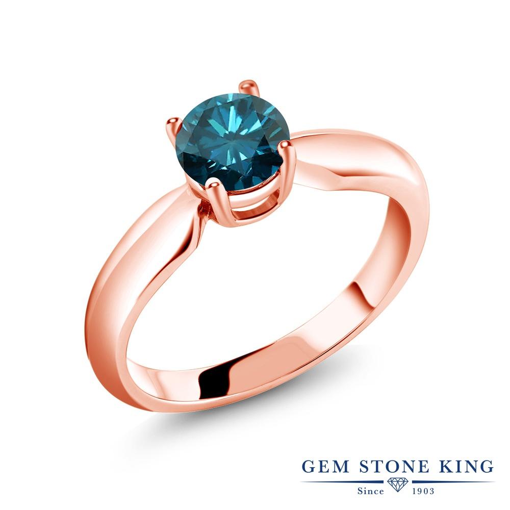 0.8カラット 天然 ブルーダイヤモンド 指輪 レディース リング ピンクゴールド 加工 シルバー925 ブランド おしゃれ 一粒 ブルー ダイヤ 青 シンプル ソリティア 天然石 4月 誕生石 プレゼント 女性 彼女 妻 誕生日