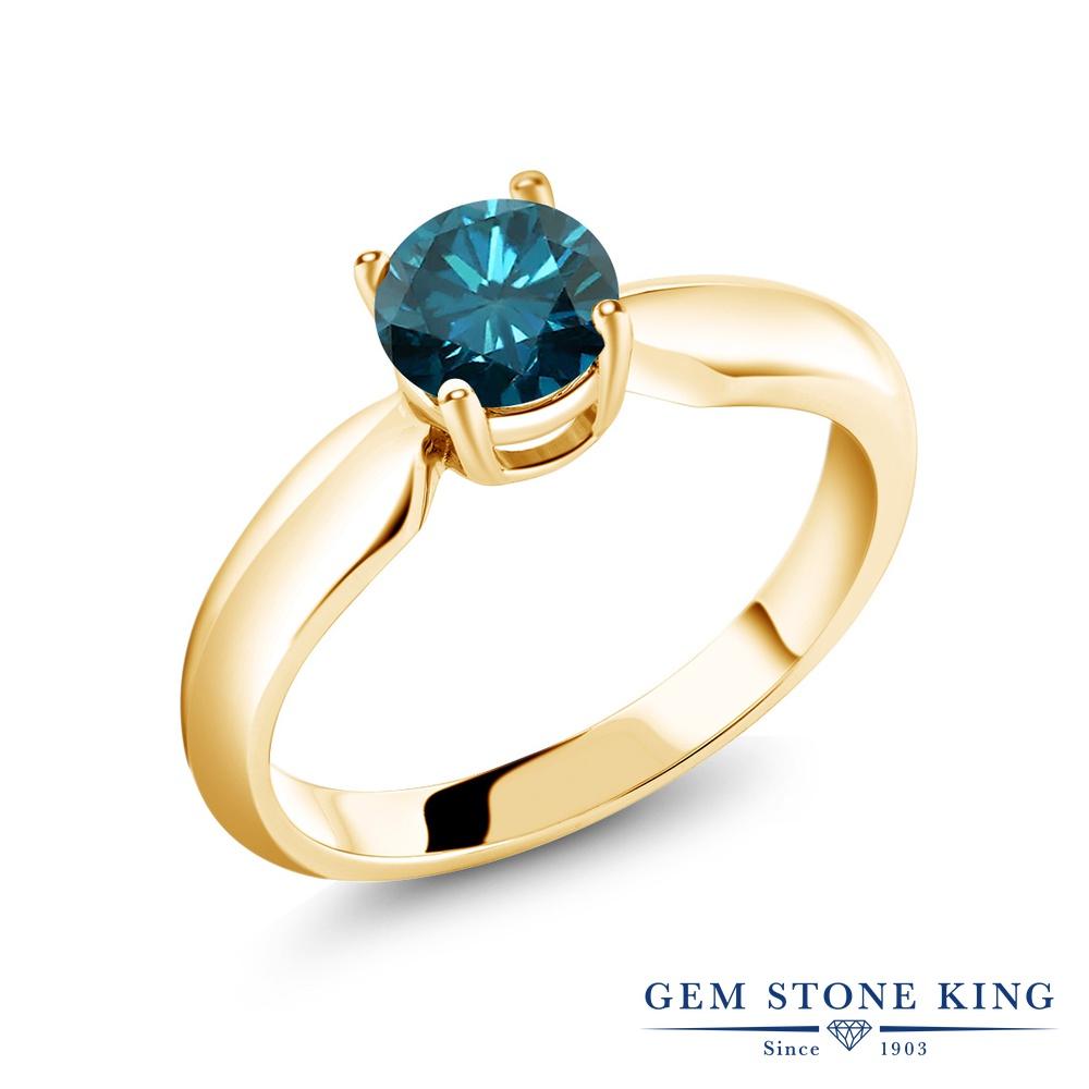 0.8カラット 天然 ブルーダイヤモンド 指輪 レディース リング イエローゴールド 加工 シルバー925 ブランド おしゃれ 一粒 ブルー ダイヤ 青 シンプル ソリティア 天然石 4月 誕生石 プレゼント 女性 彼女 妻 誕生日