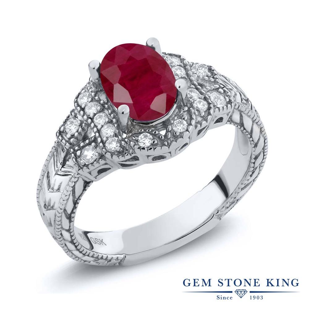 Gem Stone King 1.83カラット 天然 ルビー シルバー925 指輪 リング レディース 大粒 天然石 7月 誕生石 金属アレルギー対応 誕生日プレゼント