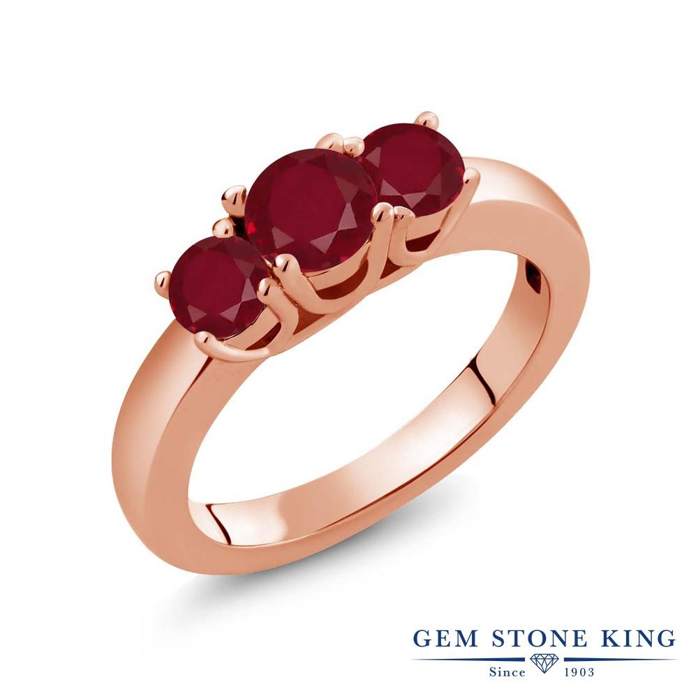 1.15カラット 天然 ルビー 指輪 リング レディース シルバー925 ピンクゴールド 加工 シンプル スリーストーン 天然石 7月 誕生石 プレゼント 女性 彼女 妻 誕生日