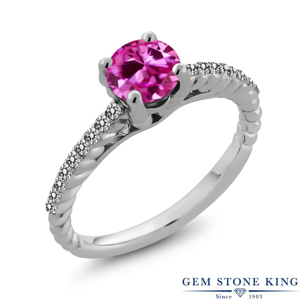 Gem Stone King 1.88カラット 合成ピンクサファイア 天然 ダイヤモンド シルバー925 指輪 リング レディース 大粒 マルチストーン 金属アレルギー対応 誕生日プレゼント