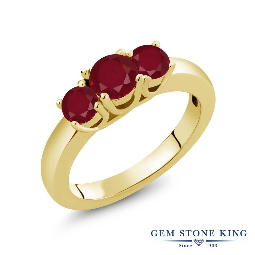 Gem Stone King 1.15カラット 天然 ルビー シルバー925 イエローゴールドコーティング 指輪 リング レディース シンプル スリーストーン 天然石 7月 誕生石 金属アレルギー対応 誕生日プレゼント