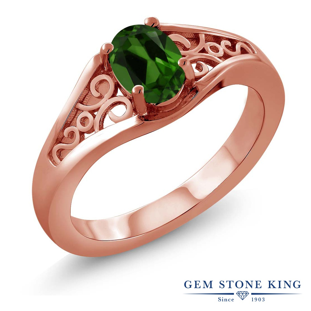 Gem Stone King 0.8カラット 天然 クロムダイオプサイド 指輪 リング レディース シルバー925 ピンクゴールド 加工 一粒 シンプル ソリティア 天然石 金属アレルギー対応