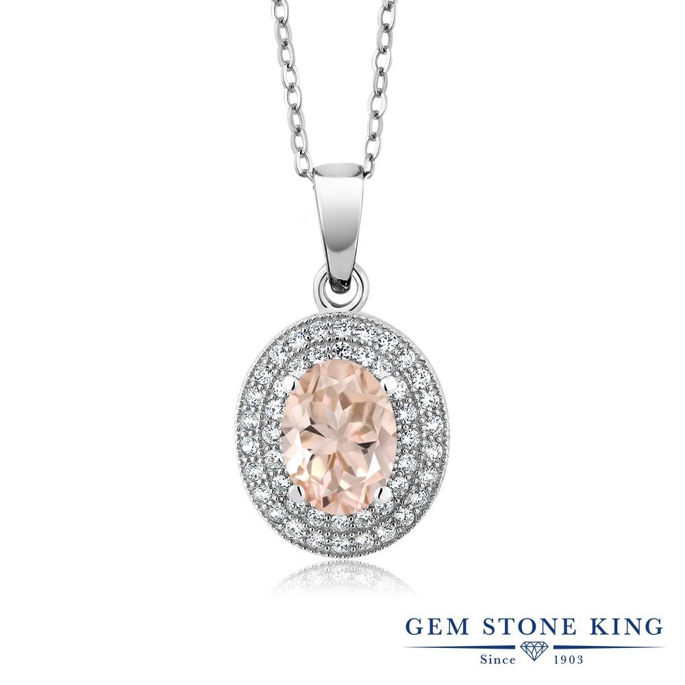 Gem Stone King 2.65カラット 天然 モルガナイト (ピーチ) シルバー925 ネックレス ペンダント レディース 大粒 天然石 3月 誕生石 金属アレルギー対応 誕生日プレゼント