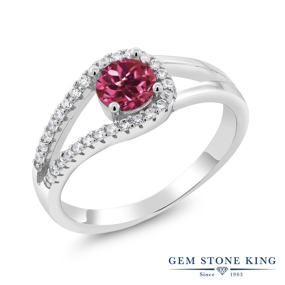 Gem Stone King 0.85カラット 天然 ピンクトルマリン 指輪 リング レディース シルバー925 小粒 バイパス 天然石 10月 誕生石 金属アレルギー対応