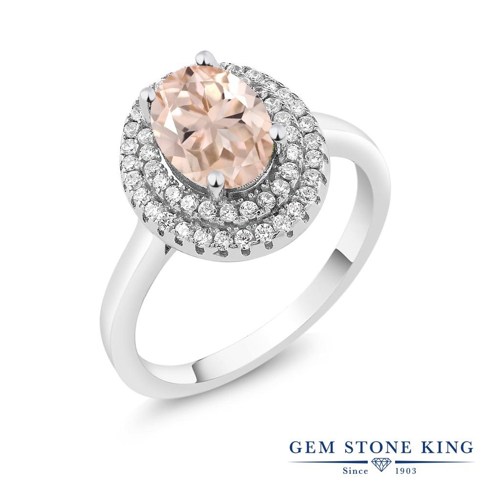 Gem Stone King 2.2カラット 天然 モルガナイト (ピーチ) シルバー925 指輪 リング レディース 大粒 天然石 3月 誕生石 金属アレルギー対応 誕生日プレゼント