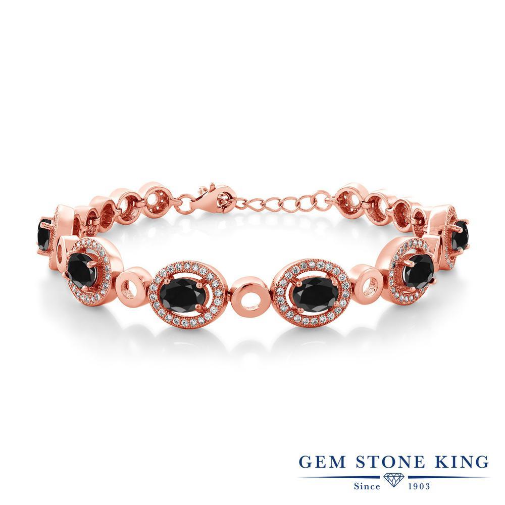 Gem Stone King 8.34カラット 天然 ブラックサファイア シルバー925 ピンクゴールドコーティング ブレスレット テニスブレスレット レディース 大粒 大ぶり 天然石 9月 誕生石 金属アレルギー対応 誕生日プレゼント
