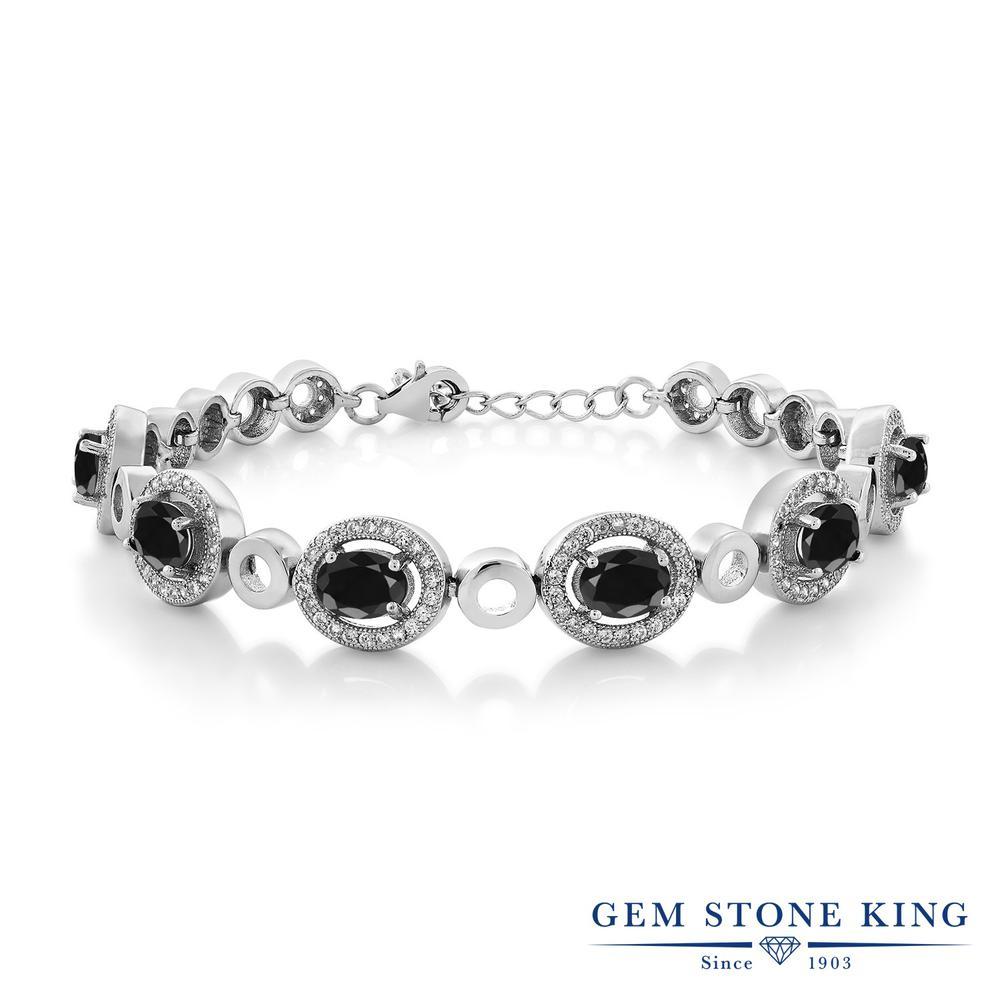 Gem Stone King 8.34カラット 天然 ブラックサファイア シルバー925 ブレスレット テニスブレスレット レディース 大粒 大ぶり 天然石 9月 誕生石 金属アレルギー対応 誕生日プレゼント