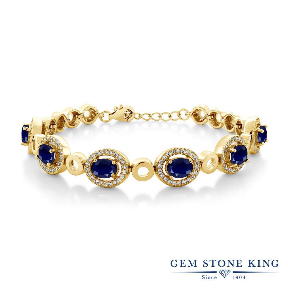 Gem Stone King 8.04カラット 天然 サファイア シルバー925 イエローゴールドコーティング ブレスレット テニスブレスレット レディース 大粒 大ぶり 天然石 9月 誕生石 金属アレルギー対応 誕生日プレゼント